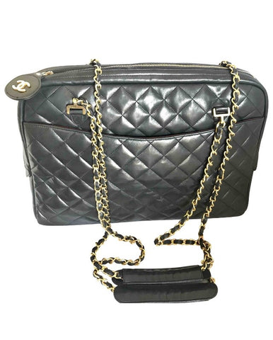 fab67e2e892e Vintage CHANEL black lamb leather large classic bag with double golden  chain strap and a CC
