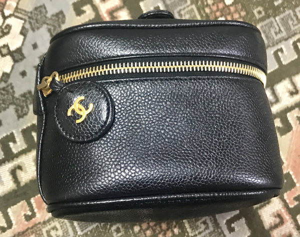 4f0a75acc1c8 Very chic vanity purse Vintage CHANEL black caviar leather cosmetic, makeup  and toiletry purse.