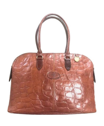 Vintage Mulberry croc embossed brown leather large tote in bolide bag shape. Masterpiece back in the era. Roger Saul era. Unisex daily bag.