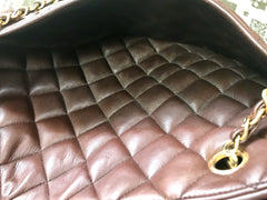 Vintage CHANEL brown quilted lamb leather classic tote bag with gold tone chains and CC charm. Classic purse.