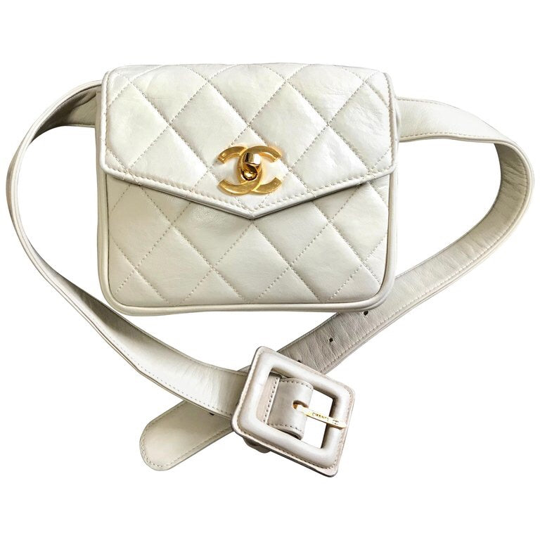 e06e95116 Vintage CHANEL ivory/cream lamb leather fanny pack, belt bag/waist purse  with