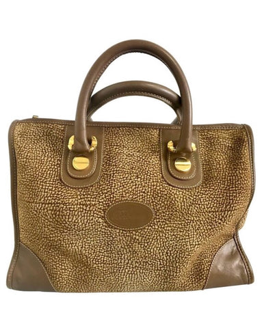 Vintage Borbonese by red wall, brown and beige leather classic bag with golden logo charm.  Unisex use. Masterpiece.