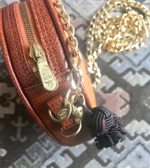 Vintage MCM brown monogram mini Suzy Wong chain shoulder purse with brown fringes. Designed by Michael Cromer.
