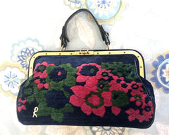 Reserved for Ella. 70's, 80's vintage Roberta di Camerino red, green, and navy velvet and leather doctor bag with flower weaving and gold charm. Rare purse