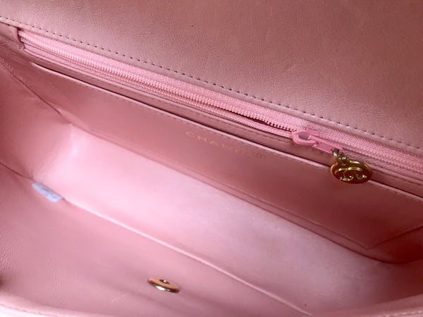 393ad15903f9 Rare color Vintage CHANEL milky pink color lambskin classic 2.55 handbag  purse with golden CC.