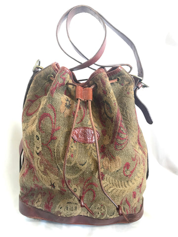 Vintage Mulberry khaki and wine brown gabeline weave fabric hobo bucket shoulder bag with leather trimming. Made in England. Masterpiece.