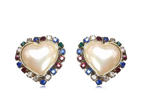 Vintage ESCADA faux pearl heart earrings with red, clear, blue, & green crystals.