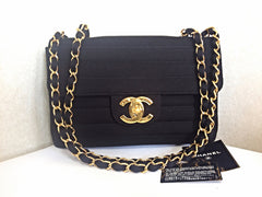 Vintage CHANEL black jersey 2.55 classic jumbo, large chain, large shoulder bag with golden CC. Stripe stitch