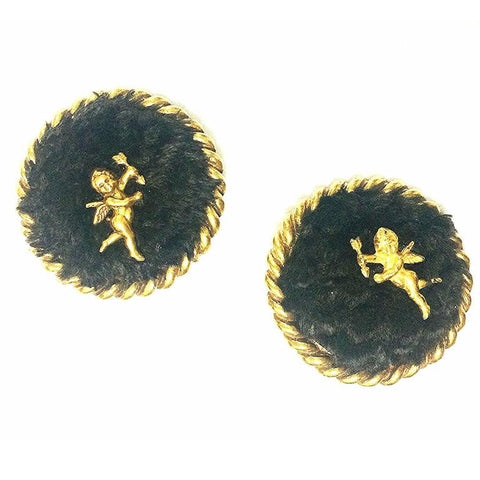 Vintage Karl Lagerfeld extra large round earrings with genuine dark brown sheep fur and angel. Masterpiece jewelry from Chanel designer.