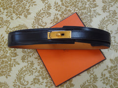 "MINT. Vintage HERMES black box calf leather Kelly belt. Stamp S in O, 1989. size 65. 23"", 24"", 25"", and 25.5""."