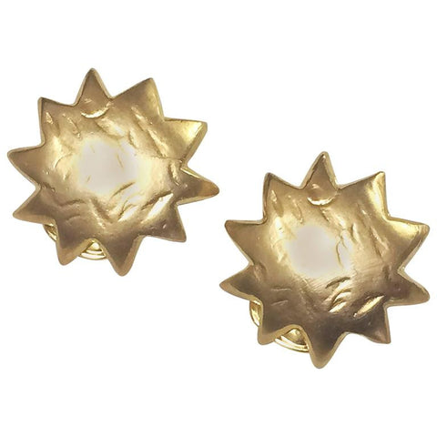 Vintage KENZO golden sun, star shape mod earrings. Chic, mod, and rare masterpiece jewelry. Great gift idea