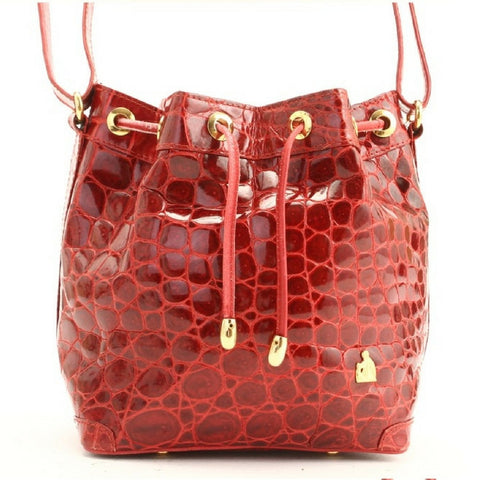 Vintage LANVIN genuine glossy red crocodile bucket, hobo shoulder bag. Rare bag.