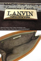 Vintage LANVIN brown logo printed suede leather pouch bag. Great masterpiece for all generations. unisex. Must Have