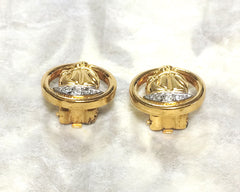 MINT. Vintage Lanvin round earring iconic logo motif and crystal stones. Made in Germany. Perfect vintage jewelry gift.