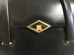80's Vintage LANVIN classic black leather shoulder bag, tote bag with golden logo motif.