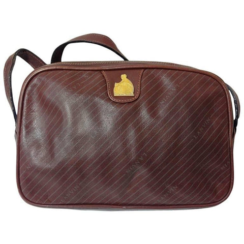 Vintage LANVIN wine brown logo printed leather shoulder bag with iconic golden logo motif, classic purse for daily use.