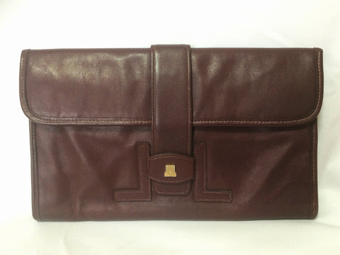 Vintage LANVIN elegant dark wine leather mini document clutch bag with iconic golden L logo motif. Classic Jige type purse for unisex.