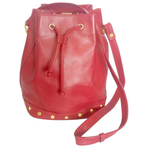 Vintage LANVIN apricot red hobo bucket shoulder bag with studded logo motifs.
