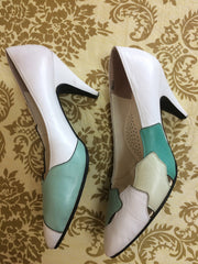 Vintage LANVIN white, light green, and green layered leather shoes, pumps with mod, geometric design.  US6, 6.5 Made in Japan