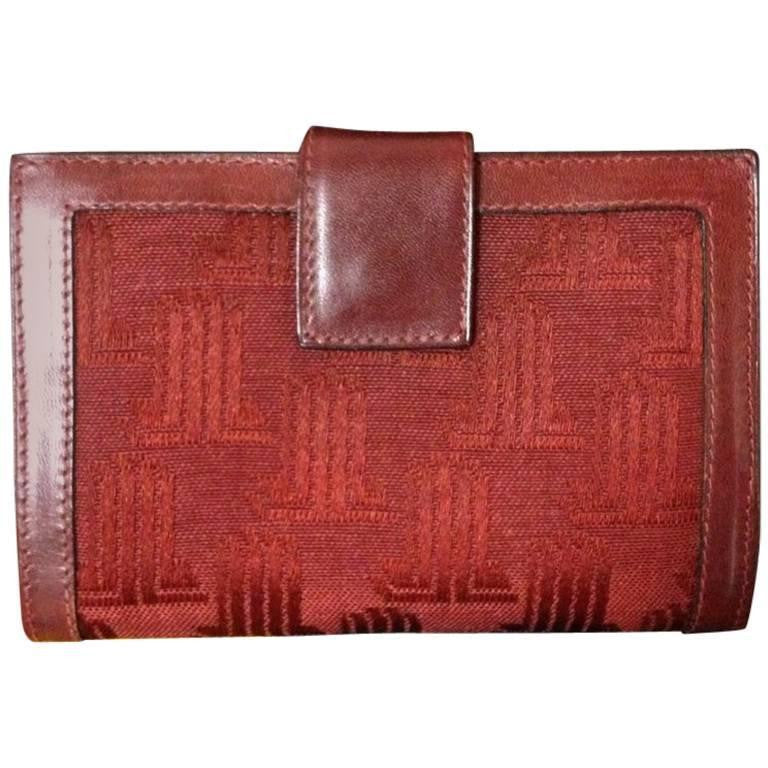 Vintage LANVIN wine logo jacquard and leather wallet with kiss lock coin room. For all generations. unisex.