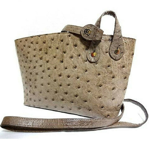 SOLD OUT: Vintage BALLY genuine taupe brown ostrich leather shoulder mini bag with golden B logo motif. Rare design purse