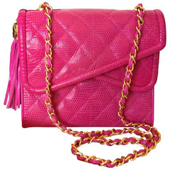 MINT. Vintage CHANEL hot pink genuine lizard leather double envelop style flap shoulder purse with golden chain strap and tassel.