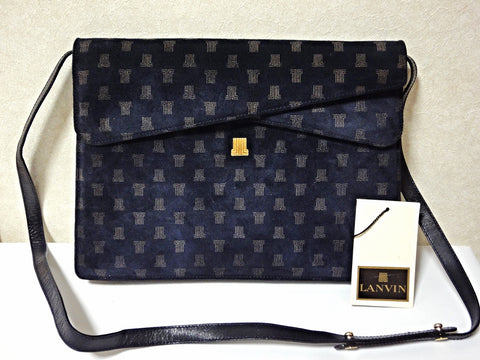 Vintage Lanvin navy suede leather clutch shoulder bag with LL prints and golden logo motif. Double envelop style. Chic and mod classic purse
