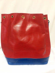 Vintage Louis Vuitton red, blue, and green, epi bucket hobo GM noe shoulder bag. Classic LV bag.