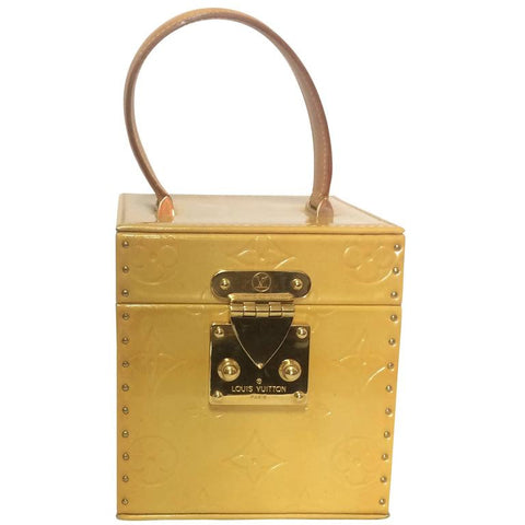 Vintage Louis Vuitton light yellow, cream verni monogram cosmetic, party vanity, jewelry box purse with a mirror inside. Very chic and cute.