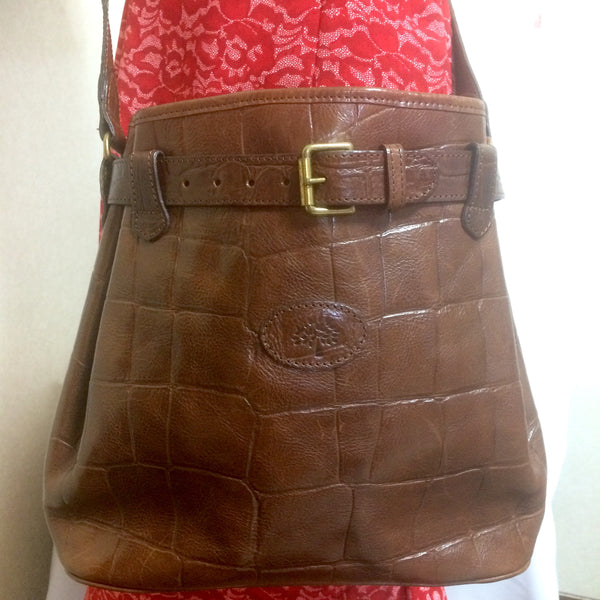 4a3de11043 Classic Vintage Mulberry brown croc-embossed leather shoulder bucket hobo  bag from Roger Saul.
