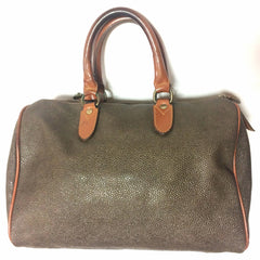 Vintage Mulberry khaki green scotchgrain duffle purse with brown leather trimmings. Unisex use for daily use. work school bag. Speedy style.