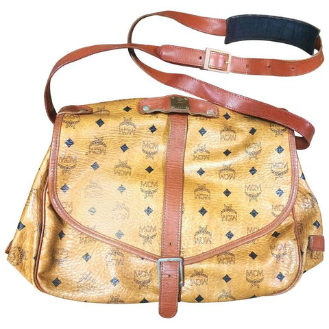 Reserved for Terry. Vintage MCM brown monogram saumur messenger shoulder bag with leather trimmings. By Michael Cromer.