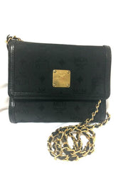 Vintage MCM black nylon monogram rare clutch shoulder bag with leather trimmings golden chain strap. Phenomenon, Big Bang.
