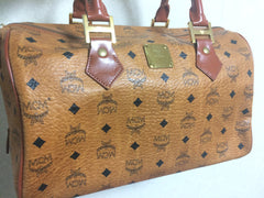 MINT. Vintage MCM brown monogram duffle bag, speedy bag. Unisex use purse in classic style in originality. Mini travel bag.
