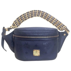 Vintage MCM black monogram rare fanny pack with multiple layer golden chain and leather belt. Unique masterpiece.