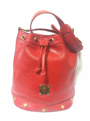 80's vintage MCM genuine leather red hobo bucket shoulder bag with gold tone hardware. Designed by Michael Cromer. Unisex bag for daily use.