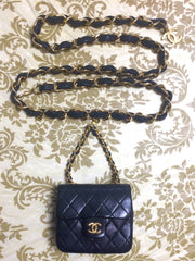 Vintage CHANEL black lambskin mini 2.55 bag charm chain leather belt with golden CC charm. Must have.