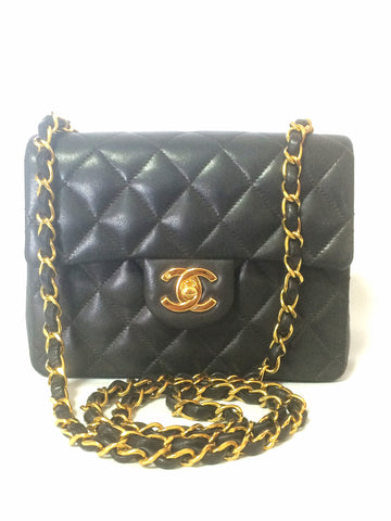 Reserved for Jenny. MINT. New. 90's vintage CHANEL black lamb leather flap chain shoulder bag, classic 2.55 mini purse with gold tone CC closure.