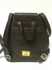 Vintage MOSCHINO genuine dark brown leather backpack with golden and black M logo motif from cheap and chic by moschino. Perfect daily bag