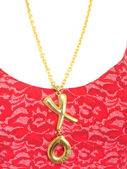 MINT. Vintage Moschino long chain necklace with X O letter with Kiss & Hug embossed pendant top. Moschino BIJOUX
