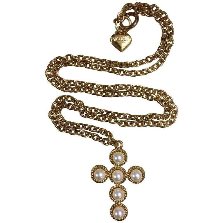 MINT. Vintage Moschino long golden chain necklace with faux pearl cross pendant top. Moschino BIJOUX