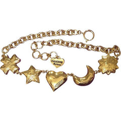 MINT. Vintage Moschino chain statement necklace with large golden heart mark, moon, star, sun, and cross, clover charms. Moschino BIJOUX