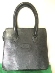 Vintage Mulberry lizard embossed black leather trapezoid shape mini tote bag. Masterpiece back in the era. Roger Saul era.