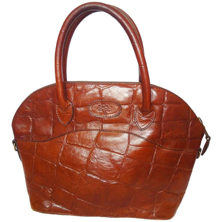 d6c7fdfd348c Vintage Mulberry croc embossed brown leather tote bag in bolide bag style.  Masterpiece back in