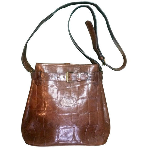 Vintage Mulberry brown croc-embossed leather shoulder bucket hobo bag from Roger Saul. Classic check pattern fabric lining. Unisex use.