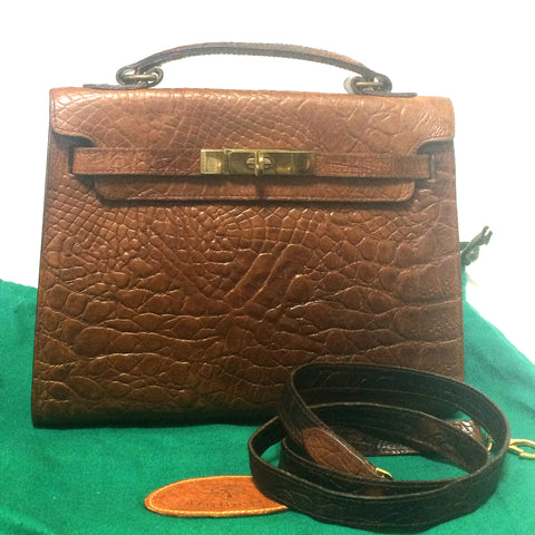 Vintage Mulberry croc embossed brown leather Kelly bag with shoulder strap. Roger Saul era. Rare masterpiece you must get.