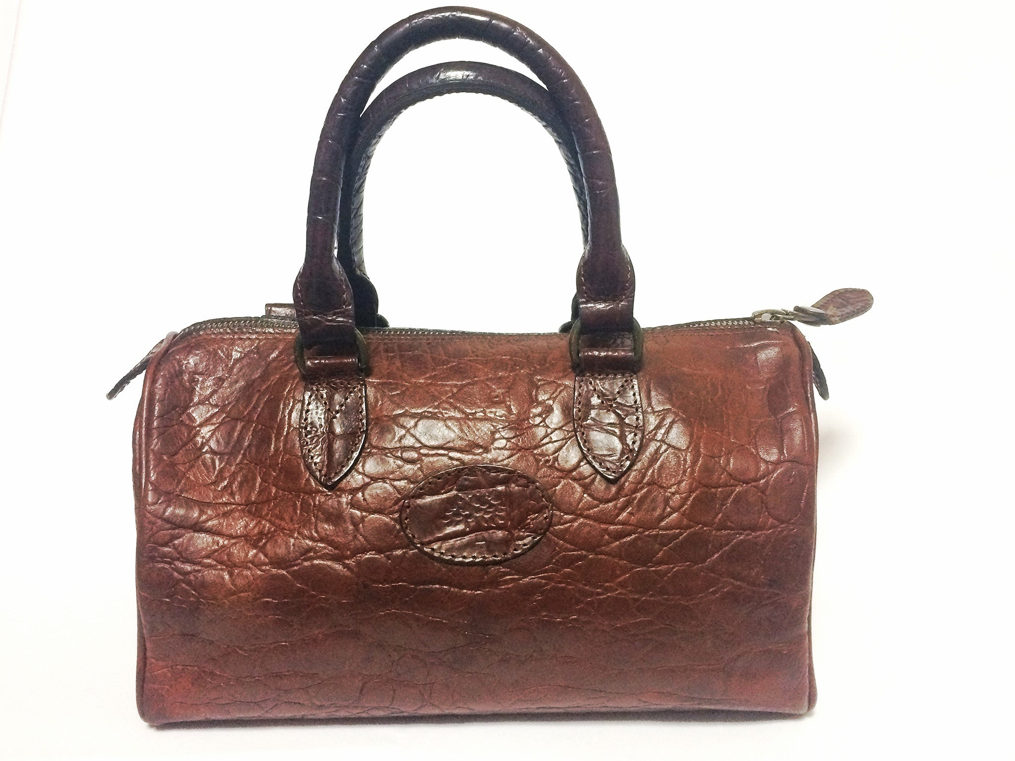 8a9a9e91049c Vintage Mulberry brown croc embossed leather speedy style mini handbag.Classic  purse by Roger Saul