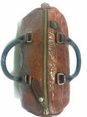 Vintage Mulberry brown croc embossed leather speedy style mini handbag.Classic purse by Roger Saul.