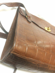 Vintage Mulberry brown croc embossed brown leather shoulder tote bag. Unisex use from Roger Soul era.
