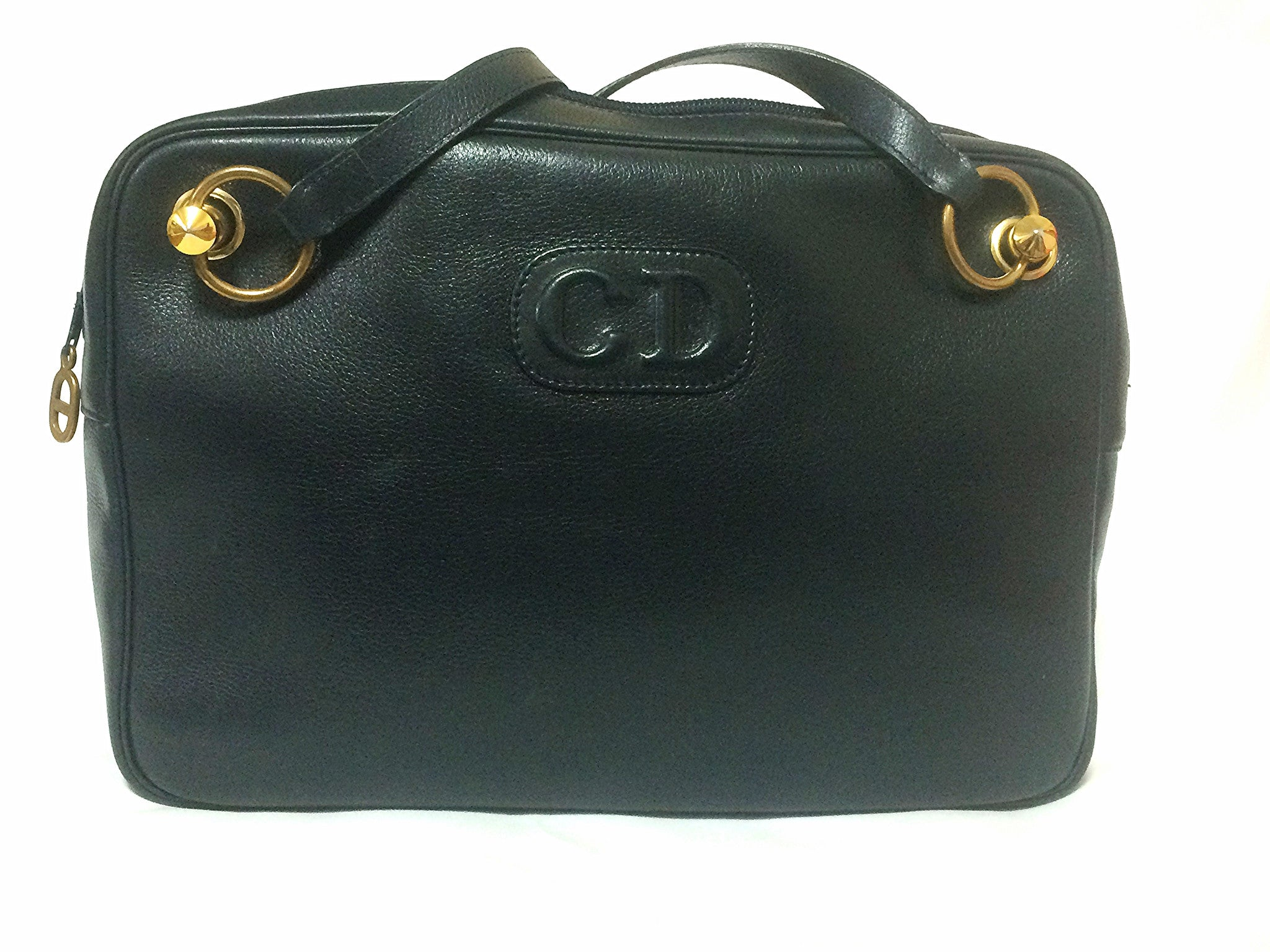Vintage Christian Dior navy leather shoulder bag with CD embossed motif and golden brass. Masterpiece from MODELE EXCLUSIF. Unisex daily bag